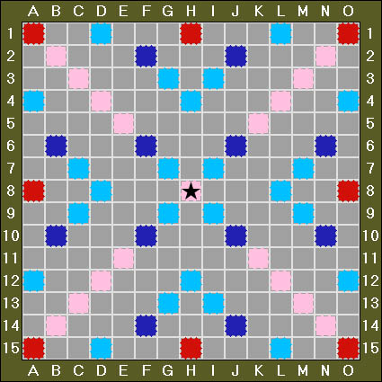 pink double word score red triple word score light blue double letter